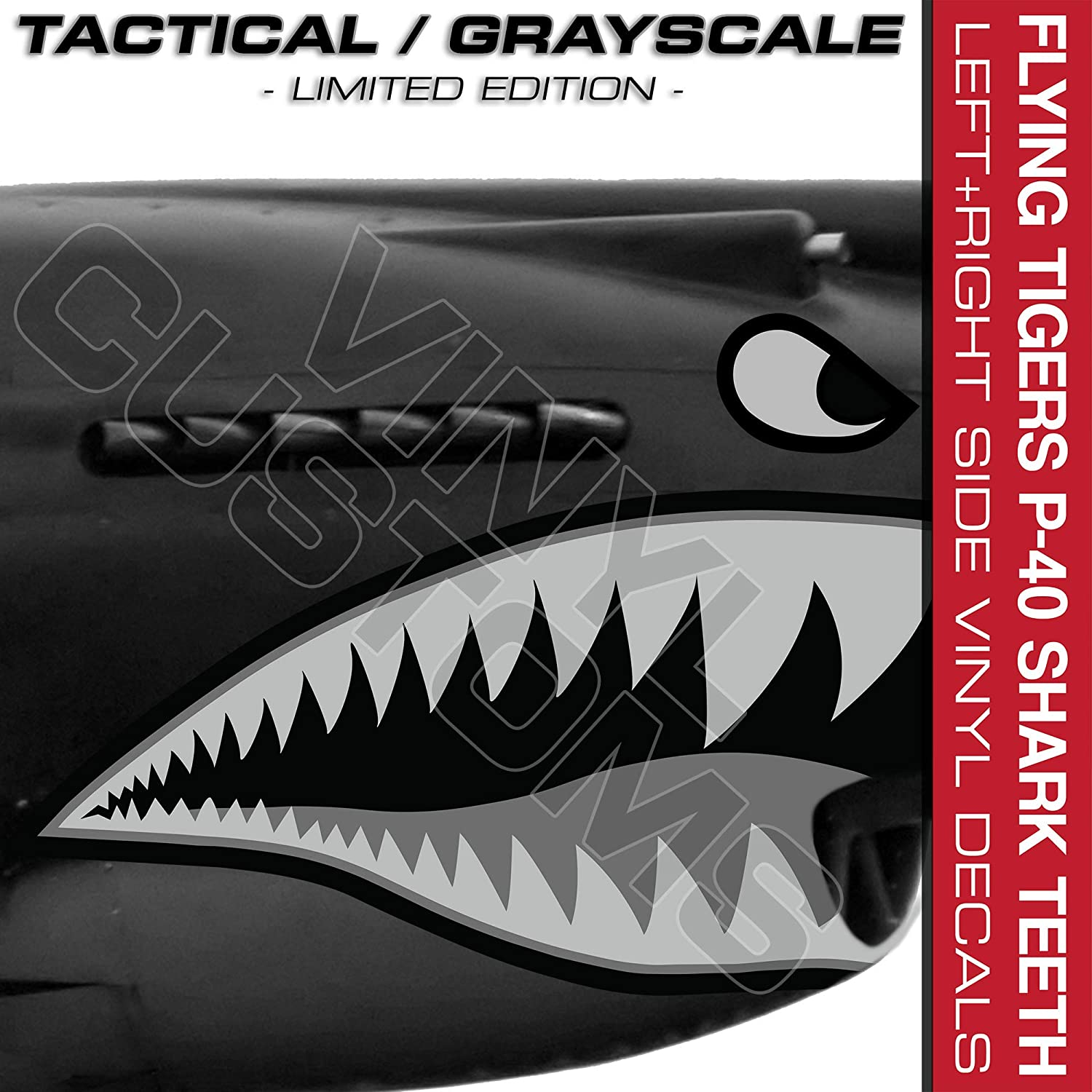 Flying Tigers Shark Mouth Teeth Die-Cut Vinyl Decals V3 Tactical