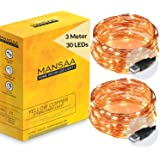 MANSAA® USB String Lights for Decoration 3M 30 LED USB Powered, Made in India, Yellow LED Light (3 mtr (2 Pack))