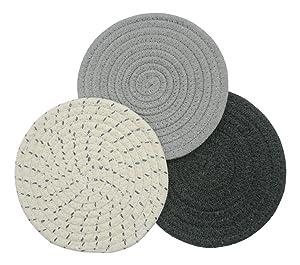 Mia'sDream Grey Kitchen Potholders Set Trivets Set 100% Pure Cotton Thread Weave Hot Pot Holders Set Hot Pads Hot Mats, Round Stylish Coasters, Diameter 7 Inches, Set of 3 Pack, Grey Set