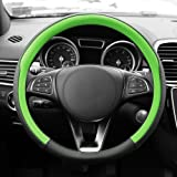 FH GROUP FH2009 Geometric Chic Genuine Leather Steering Wheel Cover- Fit Most Car, Truck, Suv, or Van