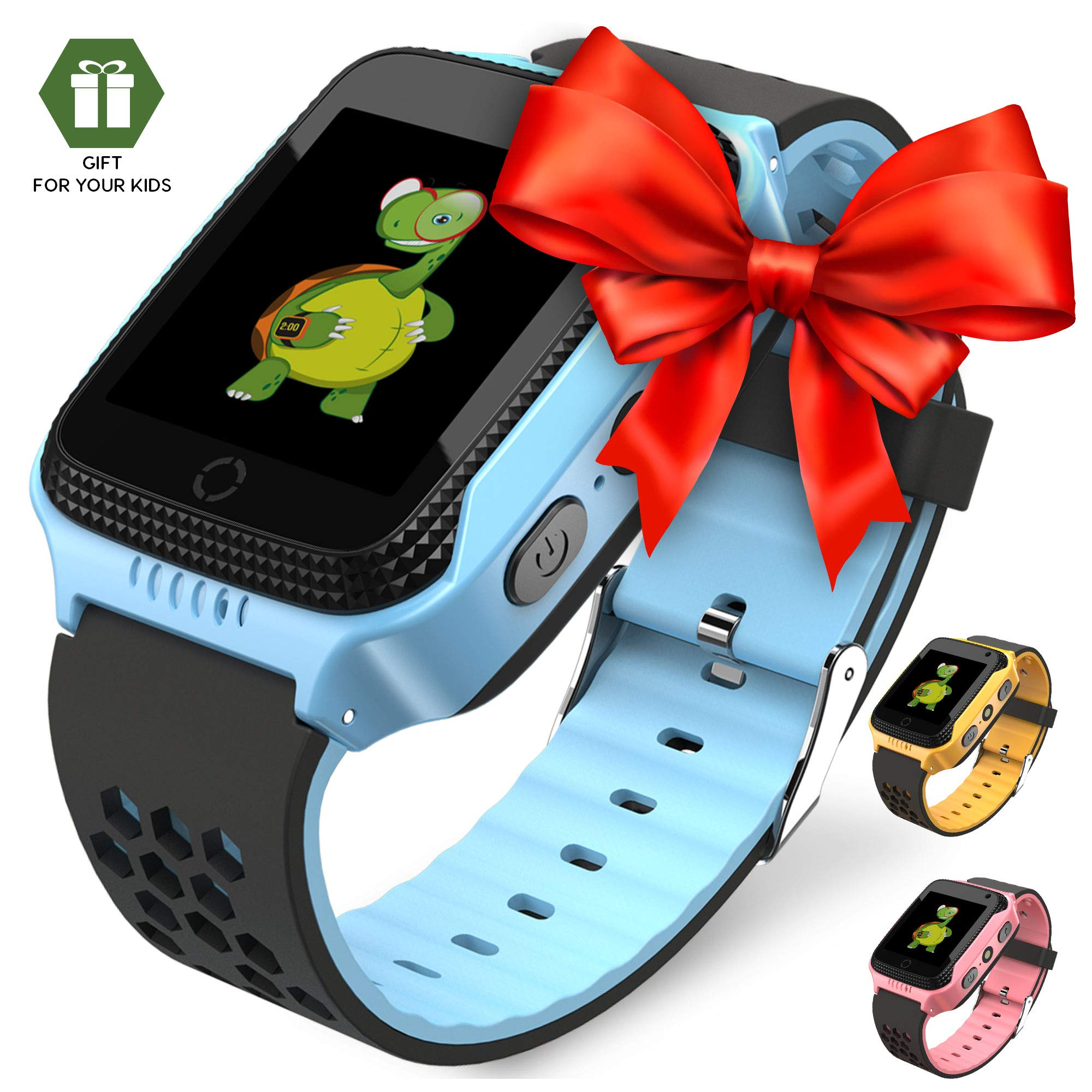 OLTEC 【2019 Update】 Smart Watch for Kids - Smart Watches for Boys Smartwatch GPS Tracker Watch Wrist Android Mobile Camera Cell Phone Best Gift for Girls Children boy Pink Blue Yellow
