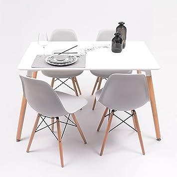 Conjunto de Comedor Tower con Mesa lacada Blanca y 4 sillas, de ...