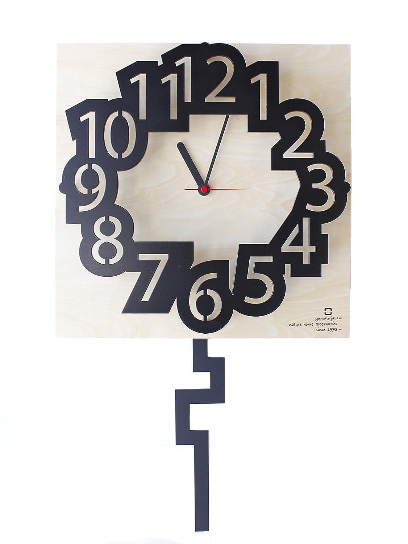ヤマト工芸 number clock (振り子時計) ブラック YK16-001 B01FDDED0G ブラック ブラック