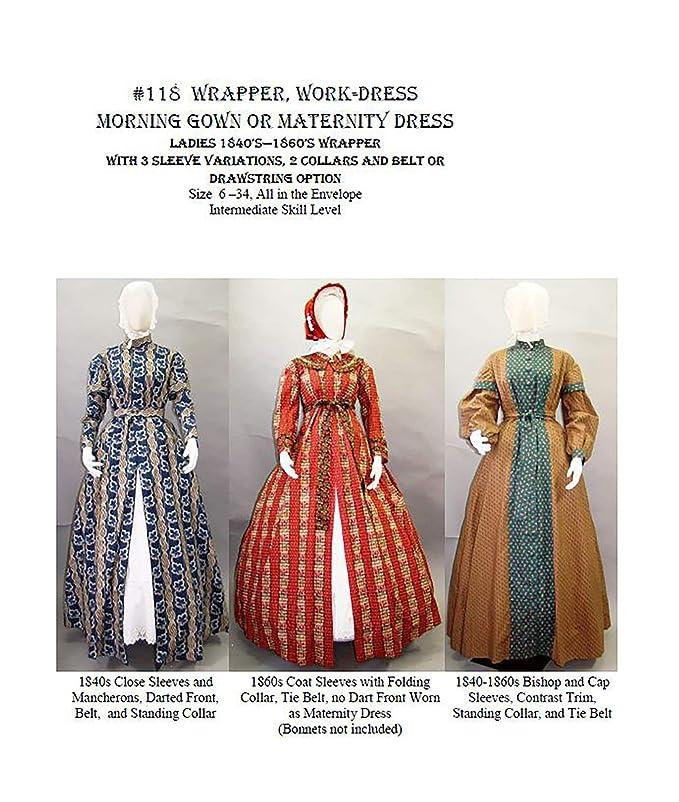 Amazon.com: 1840 s – 1860 Señoras Wrapper, work-dress, por ...