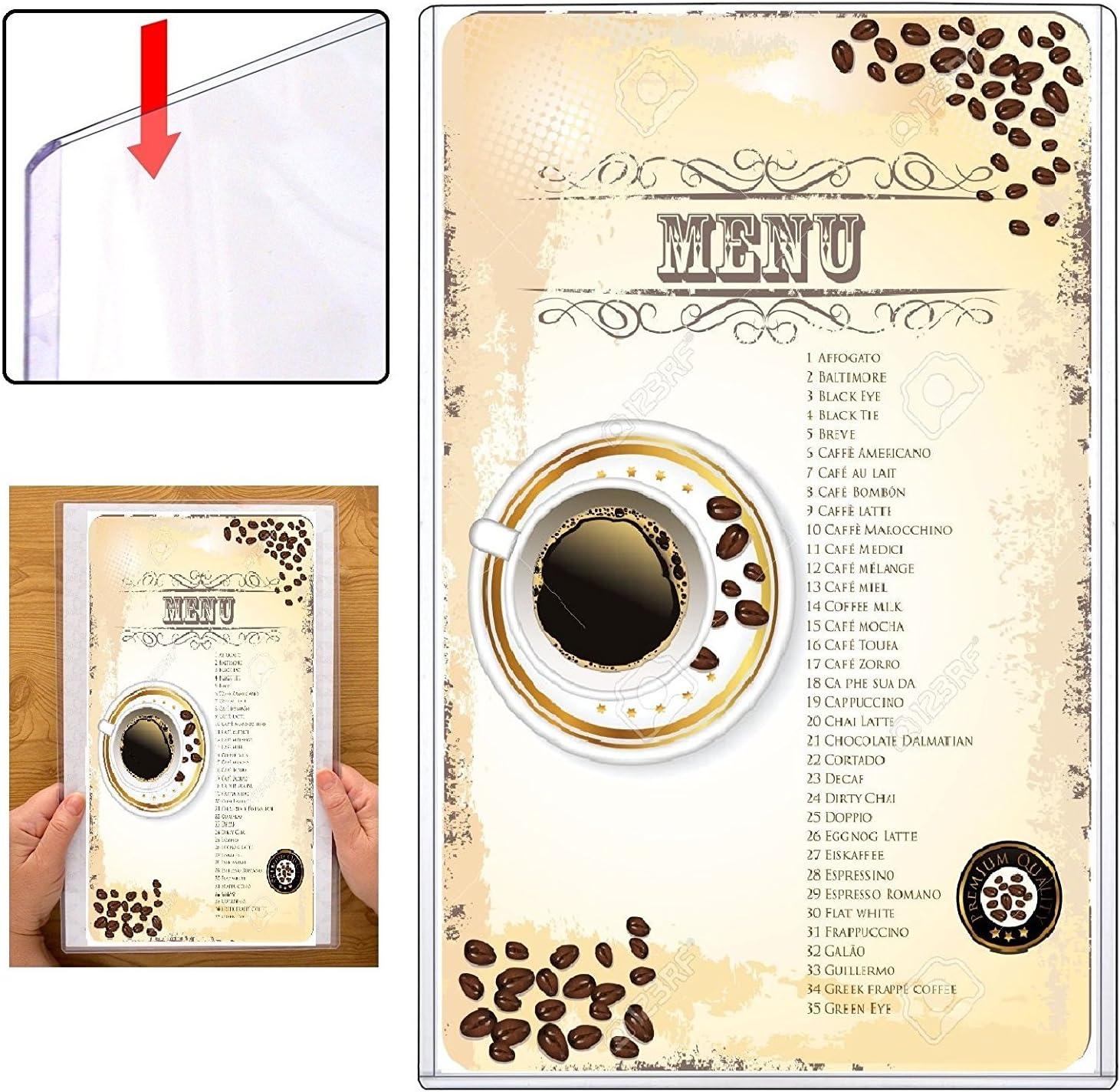Rigid Plastic Menu Covers Holder 50 Pack 11 x 17 Top Loaders