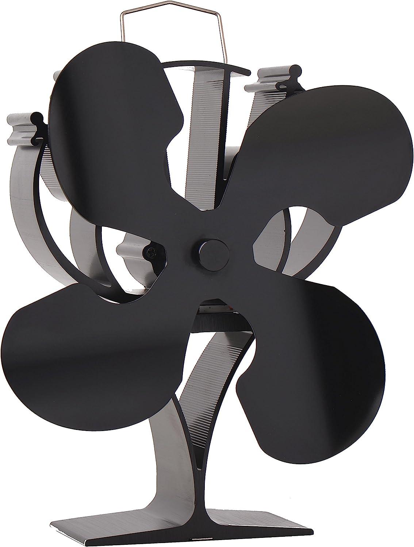 VODA Ventilador de estufa de 4 aspas alimentado por calor para leña/leña/chimenea, respetuoso con el medio ambiente negro