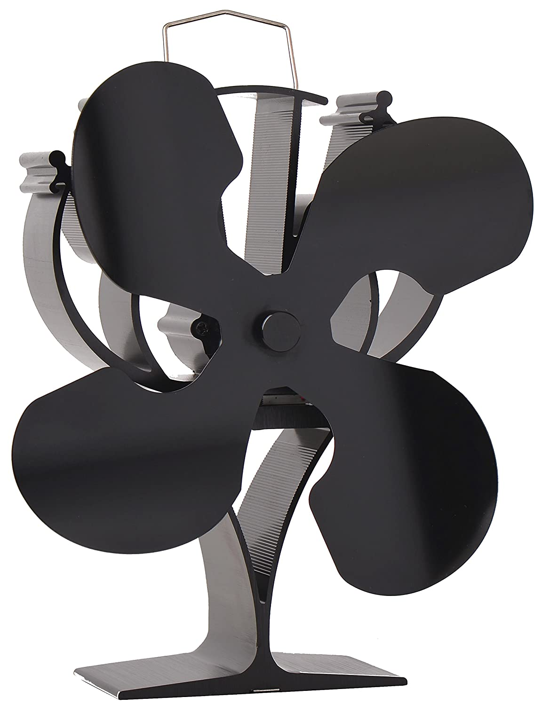 VODA New Designed 4 Lame Alimentazione Calore Ventola della Stufa, per Legno/Tronchi/Camino –  Eco Friendly Black per Legno/Tronchi/Camino-Eco Friendly Black L-Best stove accessary