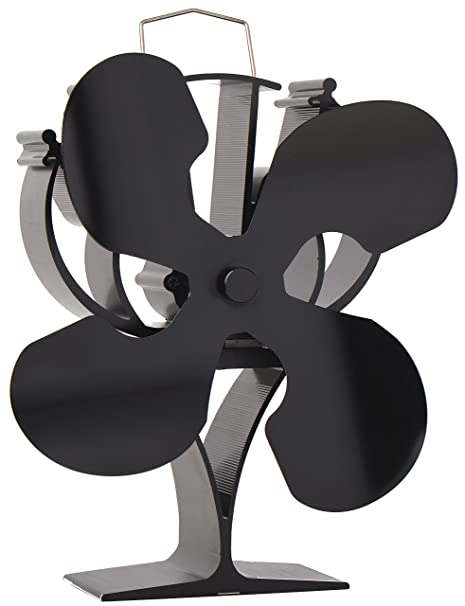 VODA Ventilador de Estufa de 4 aspas Alimentado por Calor para Quemador de leña/Chimenea - Respetuoso con el Medio Ambiente Negro