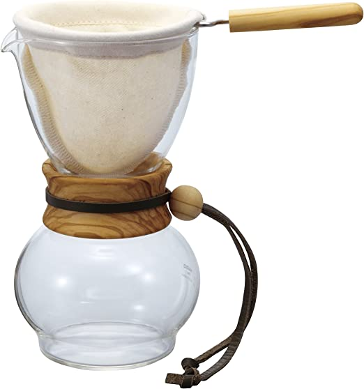 Cloth Flannel Filter pour over with Handle for Coffee Drip Pot Woodneck