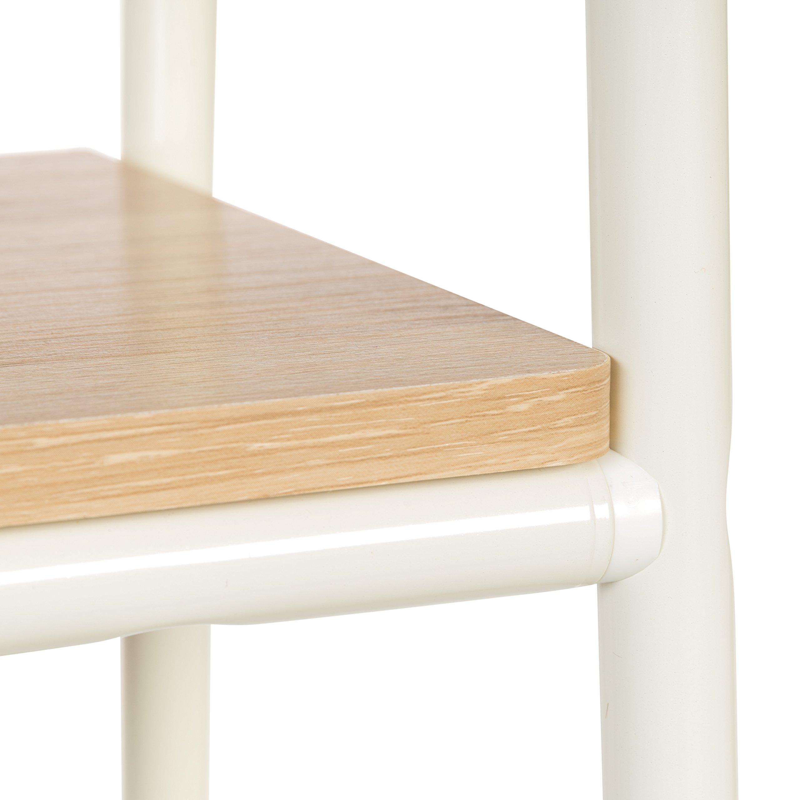 IRIS Metal Garment Rack with 2 Wood Shelves, White and Light Brown by IRIS USA, Inc. (Image #2)