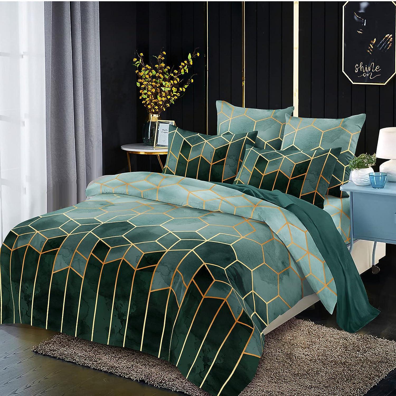 LOVINSUNSHINE Marble Geometric Comforter Geometric Marble Bedding Set Green Geometric Bedding Set Geometric Pattern Comforter Set Soft Microfiber King Comforter 3 Piece Set King -
