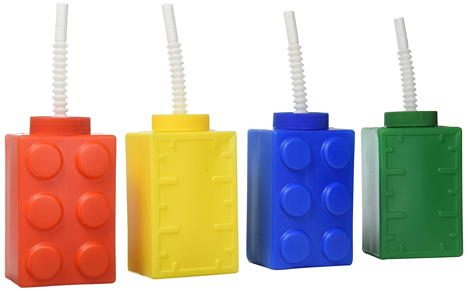 Fun Express Color Building Brick Party Molded Cups with Straw & Lid- 8 Count