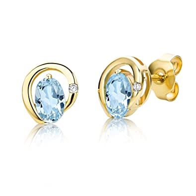 Miore Earrings Women studs Blue Topaz White Gold 9 Kt/375