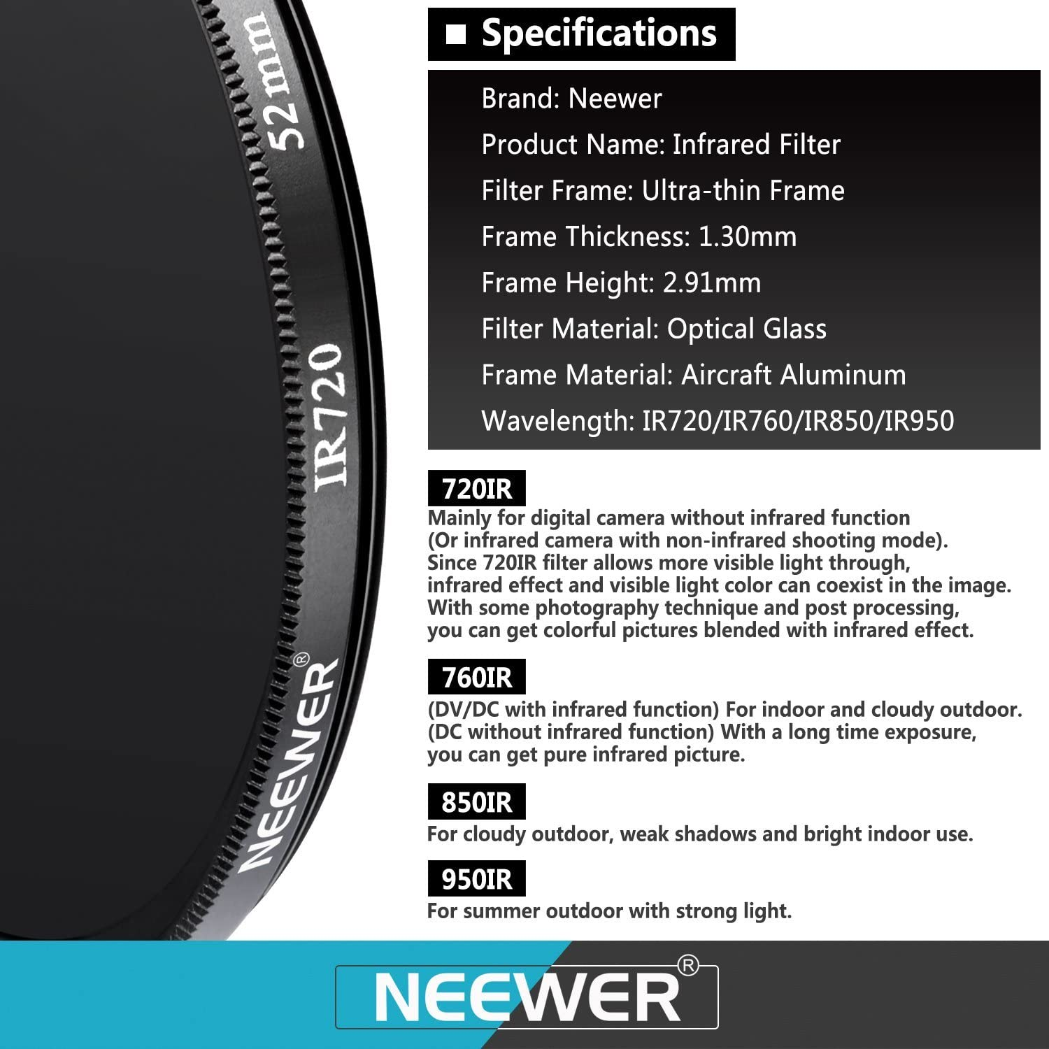 Neewer 52MM 4pcs IR720 IR760 IR850 IR950 Infrared Filters with Carrying Pouch