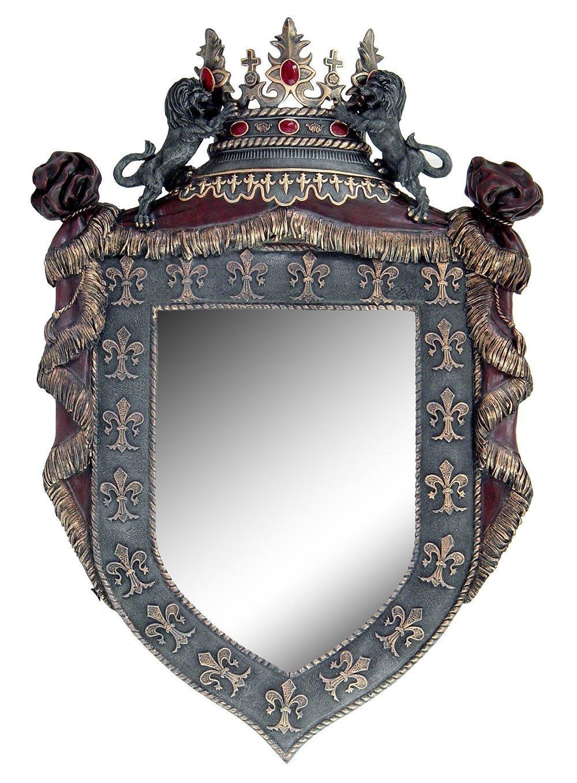 Atlantic Collectibles Royal Order Of The Lion Fleur De Lis French Medieval Crest Wall Mount Mirror Plaque 29''H Decor Figurine by Atlantic