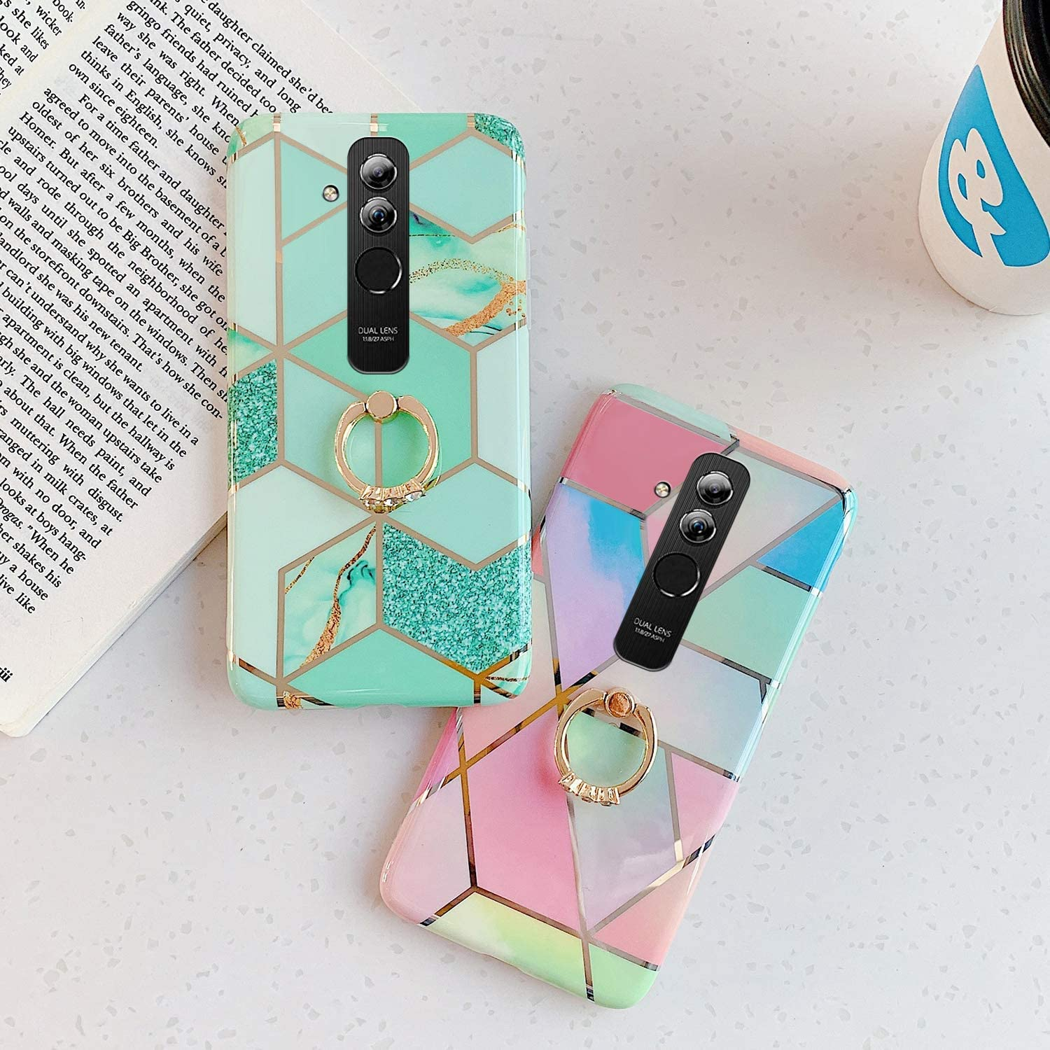 Herbests Compatible with Huawei Mate 20 Lite Case Girl Women Geometric Marble Shockproof Soft Silicone Clear Bumper Glossy Glitter Sparkle Cute Case with Diamond Ring Holder Stand,Green