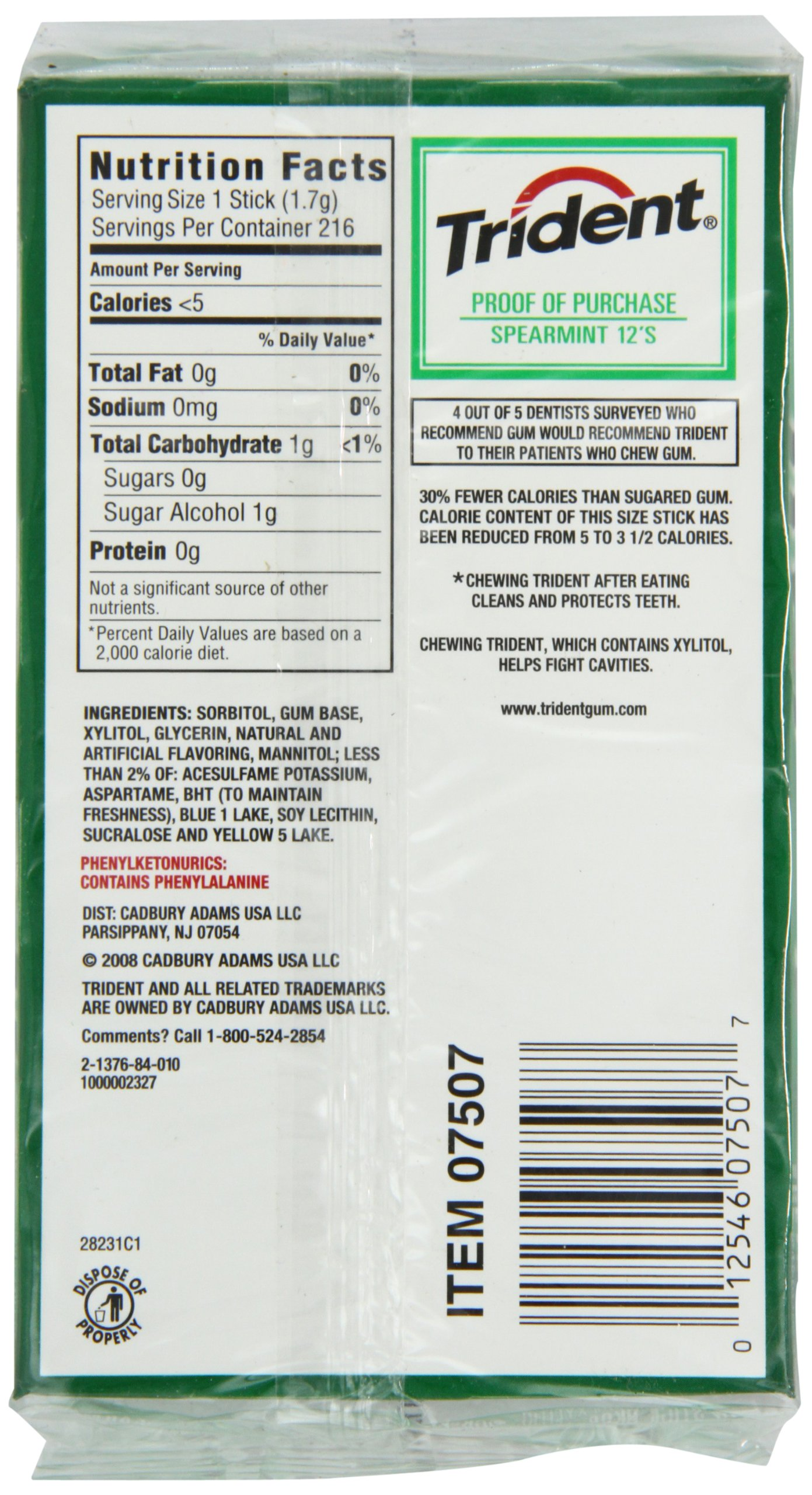 Trident Sugar Free Gum (Spearmint, 18-Piece, 12-Pack)