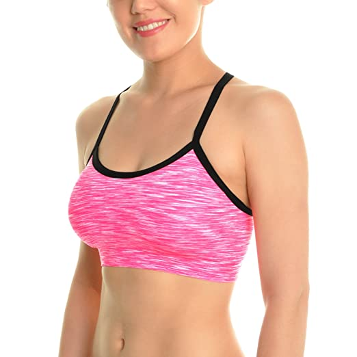 97d14360386b7 Angelina Seamless Sports Bras with Adjustable Y Strap Back (3-Pack ...