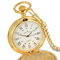 Personalised Engraved Pocket Watch with Roman numbers and Spare Battery Gold or silver, with Satin Box or without, with Free engraving