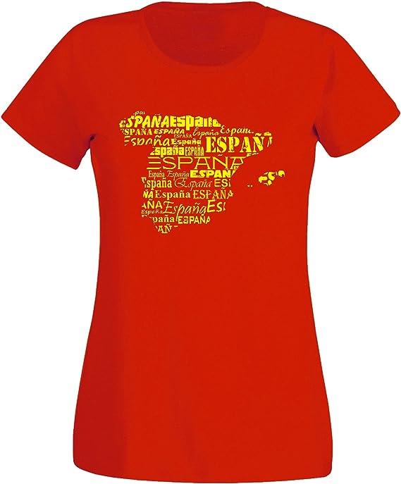 aprom Espana Spain X7 - Camiseta para Mujer, Color Rojo: Amazon.es: Ropa y accesorios