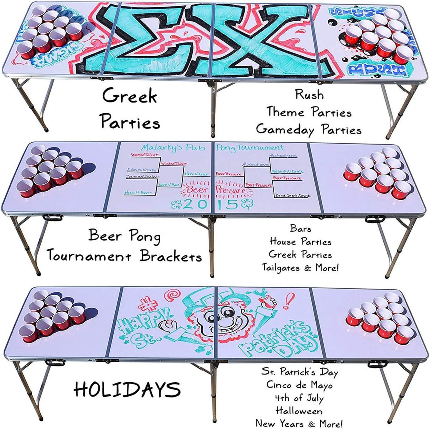Offizieller Whiteboard Pong Tisch Set | Beer Pong Full Pack | Inkl. 1 Beer Pong Tisch + 120 Becher 53cl (60 Rot & 60 Blau) + 6 Ping-Pong-Bälle | Premium Qualität | Partyspiele | Trinkspiele Table + Cups + Balls