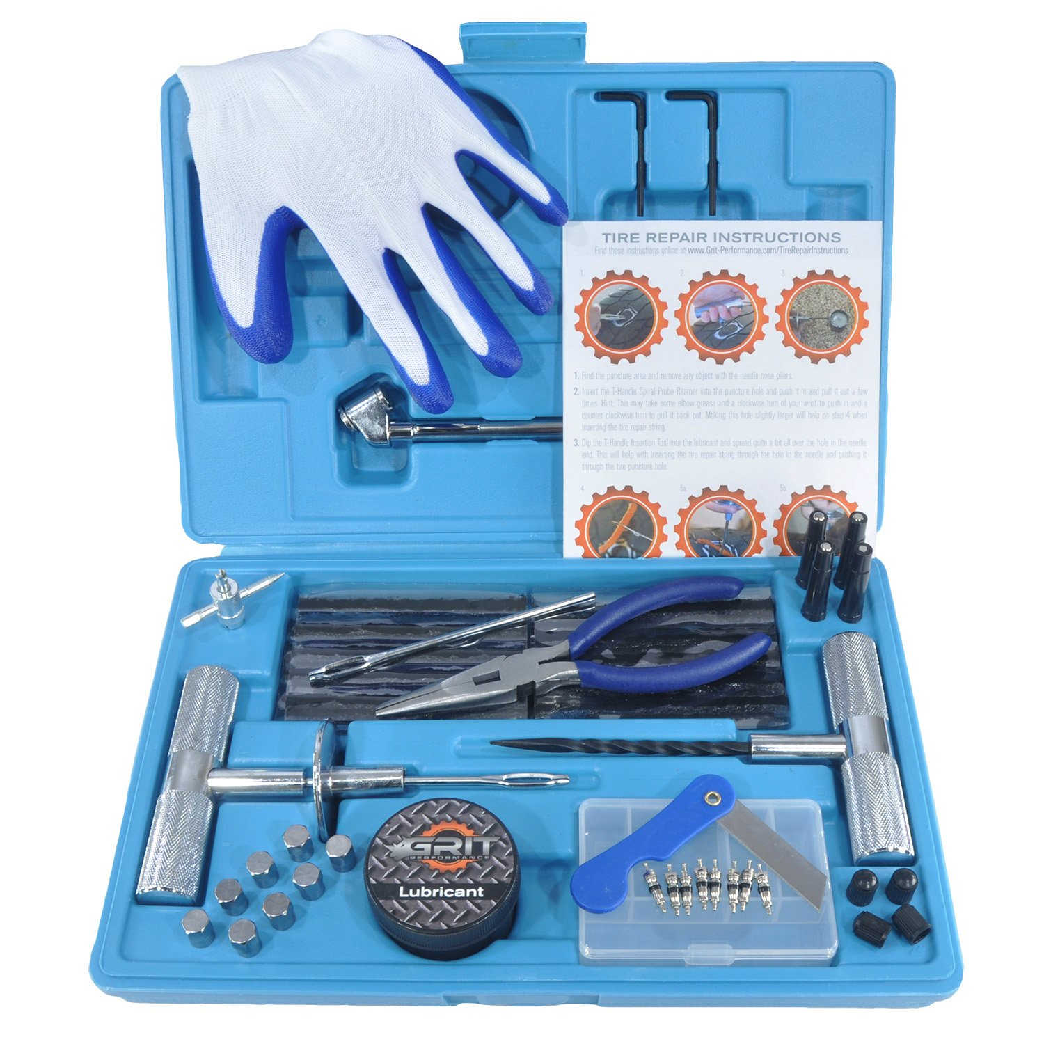 [71 Piece] Heavy Duty Tire Repair Kit w/ Gloves | Universal Tubeless Flat Tire Plug Kit for Puncture Repair | Ideal for Cars, Trucks, SUVs, ATVs, Motorcycles, Lawn Mowers, Tractors, Motorhomes by Grit Performance