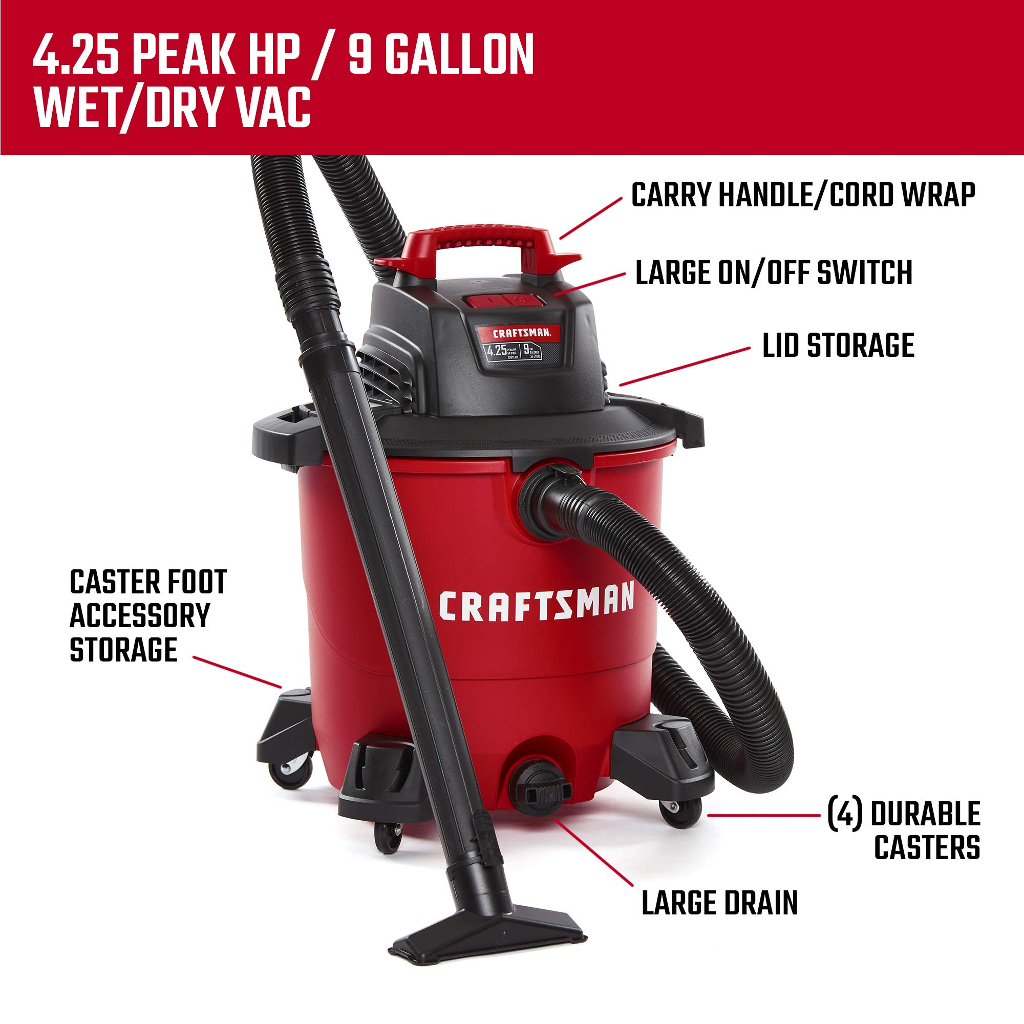 CRAFTSMAN CMXEVBE17590 9 gallon 4.25 Peak Hp Wet/Dry Vac, Portable Shop Vacuum with Attachments by Craftsman (Image #3)
