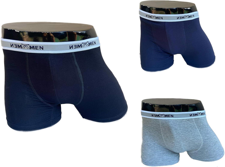 ITALIAN ENDURANCE Boxer e Slip da Uomo in Cotone Elasticizzato di Alta qualit/à,Confezione da 3 Pezzi,Nero Blu Grigio.