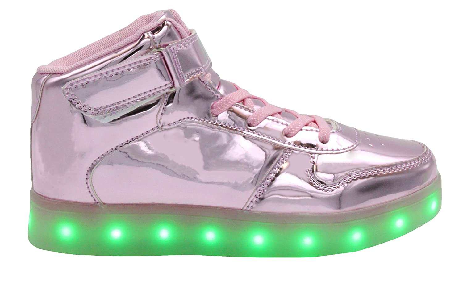 Transformania Toys Galaxy LED Shoes Light Up USB Charging High Top Lace & Strap Sneakers B072KL1YM9 8 US Women / 39 E.U.|Pink