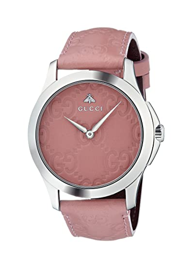 Amazon.com: Gucci Quartz Stainless Steel and Leather Casual Pink Womens Watch(Model: YA1264030): Watches