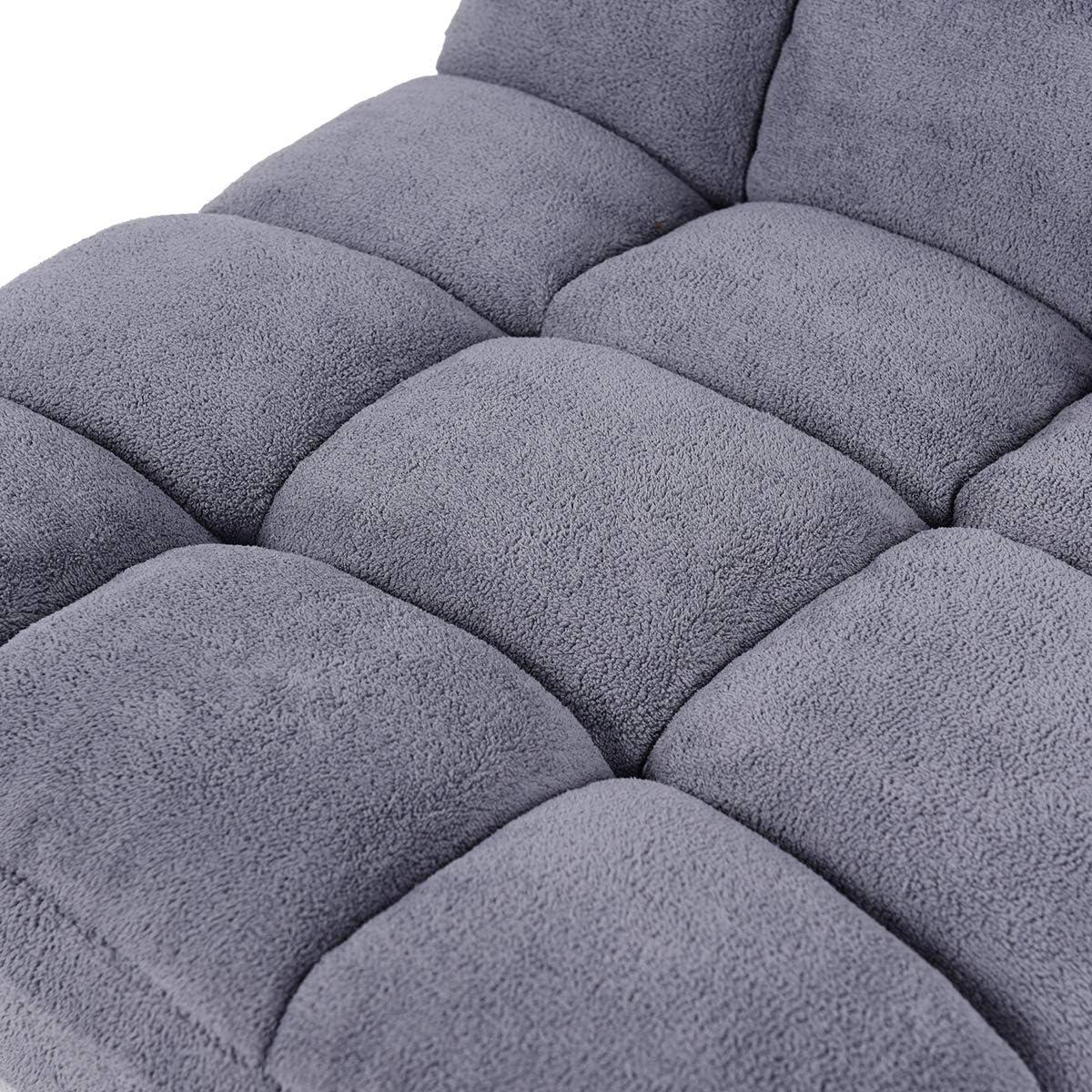Faules Sofa Bodensessel faltbar Meditationsstuhl Sitzsack Sofa Bodenkissen Sitzmatte mit R/ückenlehne Grau Sitzkissen f/ür Innenraum DREAMADE Bodenstuhl 14-stufig verstellbar