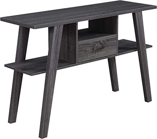 Convenience Concepts Newport Mike W Console Table with Drawer, Weathered Gray