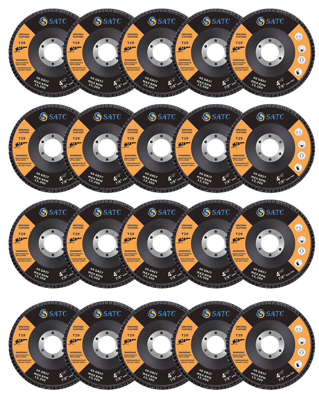 S SATC Grinding Wheel Sanding Discs 20 Pack Flap Disc 4.5 Grinding Wheel 4 1/2 Grinding Wheels T29 Flap Disc 4.5 Flap Disc Flap Disc 4-1 2 Inch 40/60/80/120 Grit 41/2FlapDisc