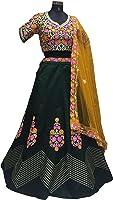ClassyFashion Satin Lehenga Choli (CreamNPinkLeh01_Multicolor_Free Size)