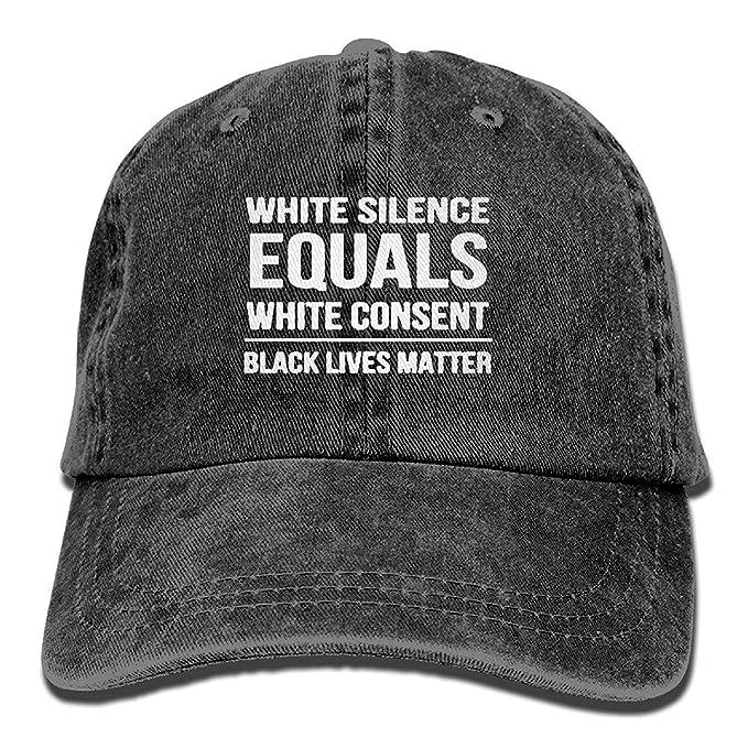 CHSUNHEY Cotton Bufanda White Silence,White Consent Black Lives Matter Vintage Adjustable Denim Sombreros Gym