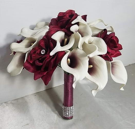 Amazoncom Burgundy White Calla Lily Rose Bridal Wedding Bouquet