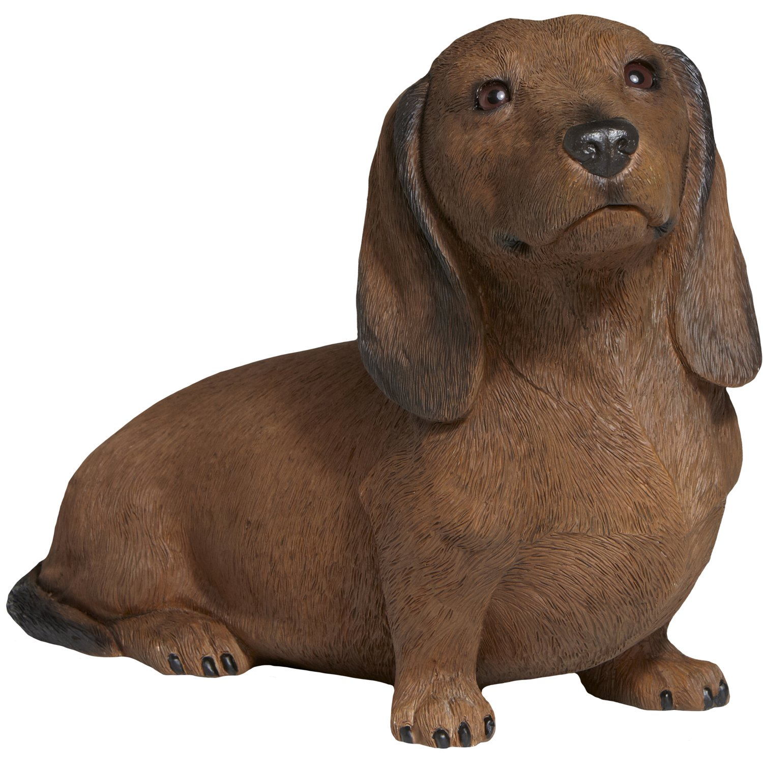 Sandicast Smooth Red Dachshund Sculpture, Sitting, Life Size