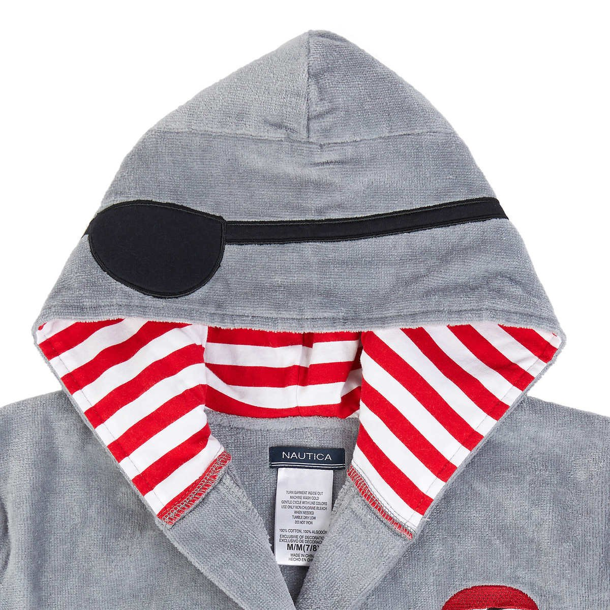 Nautica Boys Hooded Terry Velour Swim Cover-up Beach Robe Grey Pirate