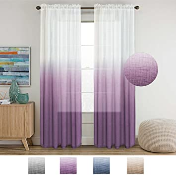 Delicieux Turquoize Semi Sheer Plum Curtains For Bedroom Casual Weave Textured  Privacy Linen Blended Window Curtains Drapes