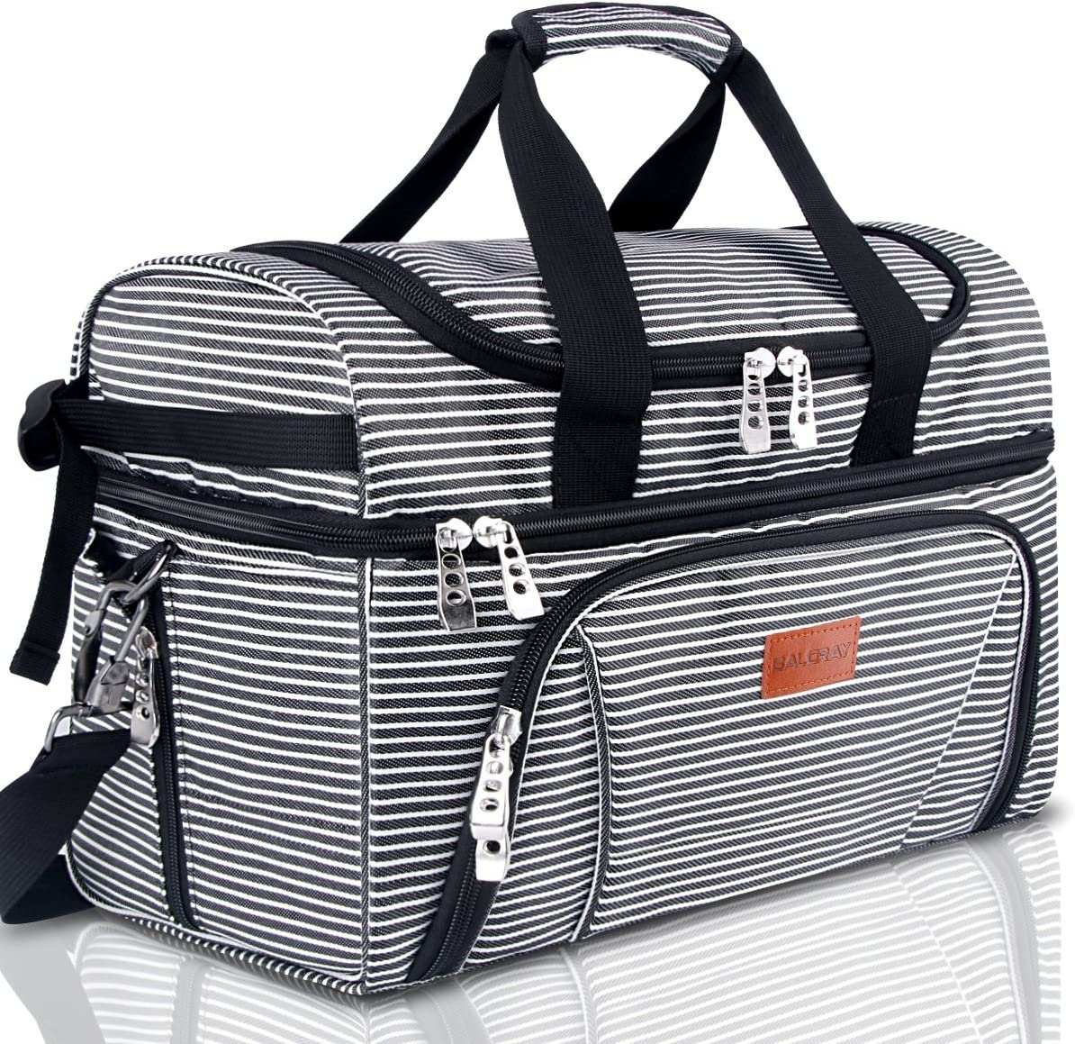 BALORAY Large Lunch Bag for Women Men Insulated Leak-proof Food Containers Lunch Pail for Office Picnic Beach Travel Camping-Black (G-217Black&White Strip)