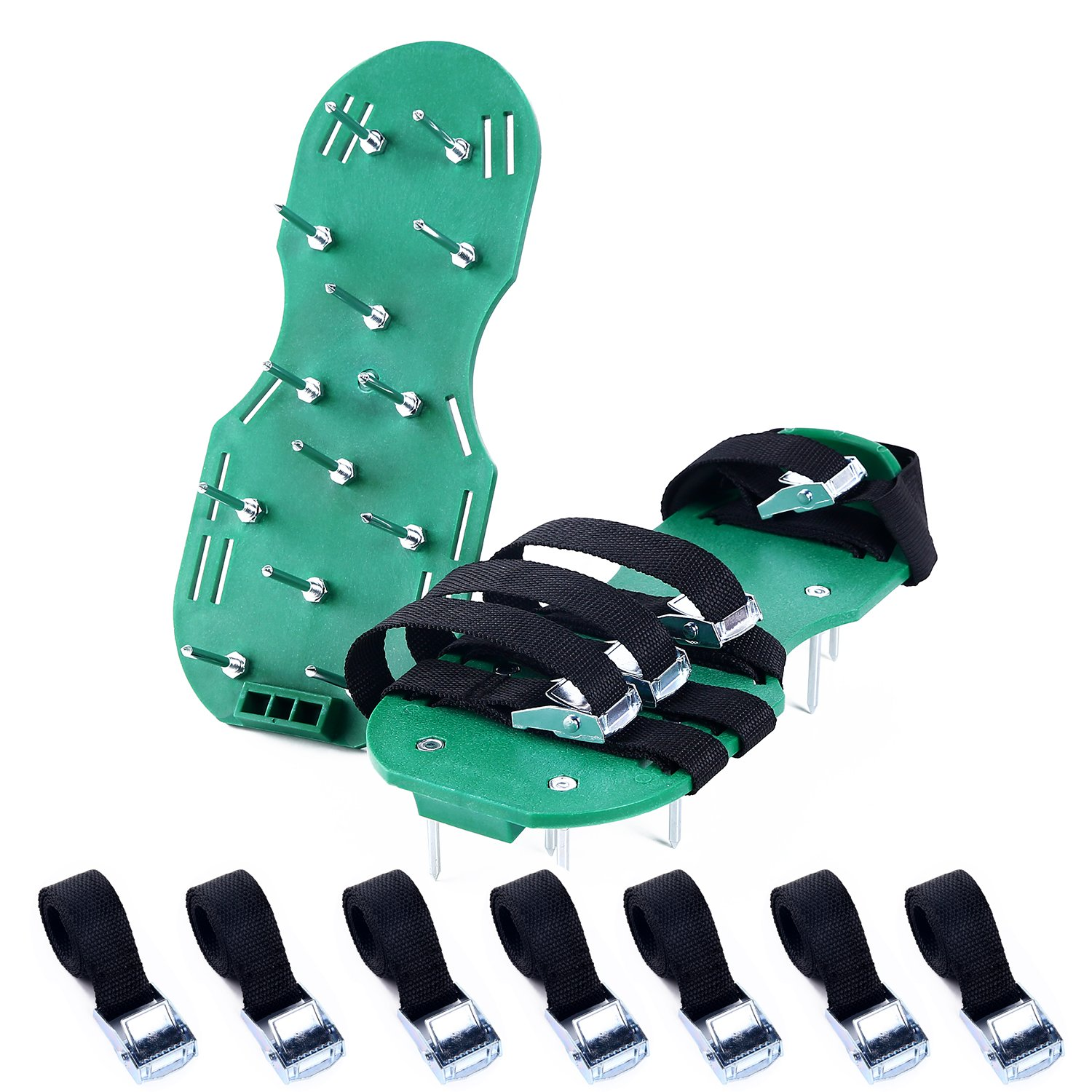 Ohuhu Lawn Aerator Shoes, 4 x Adjustable Aluminium Alloy Buckles & 1 x Heal Elastic Band Unique Design | Heavy Duty Spiked Sandals for Aerating Your Lawn or Yard