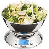 Boston Technology HK-101 - Báscula de cocina digital, Balanza electronica con reloj temporizador, pantalla LCD, función TARA y sensor de temperatura. Peso en gramos. Bol Incluido