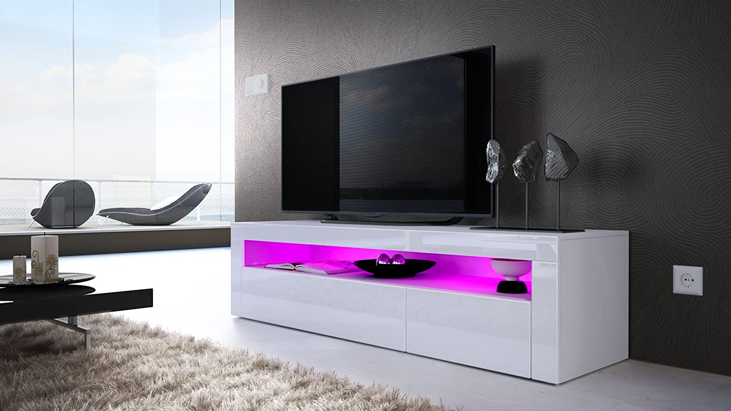 Tv Stand Unit Valencia Carcass In White Matt Front In White  # Meuble Tv Ultra Compact