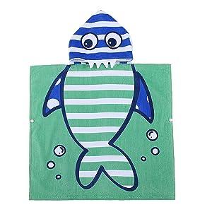 PERYOUN Small Shark Hooded Baby Towel - 100% Cotton Bath Towel