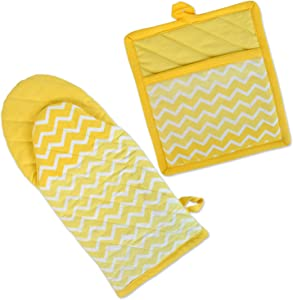 DII 100% Cotton, Machine Washable, Everyday Kitchen Basic, Chevron Printed Oven Mitt and Potholder Gift Set, Yellow