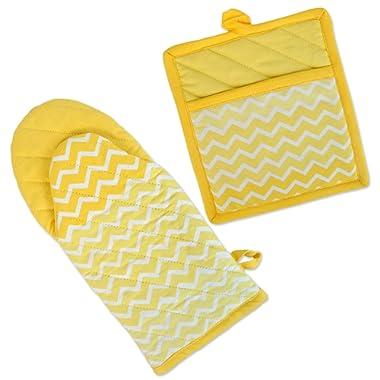 DII 100% Cotton, Machine Washable, Everyday Kitchen Basic, Chevron Printed Oven Mitt and Potholder Gift Set, Yellow