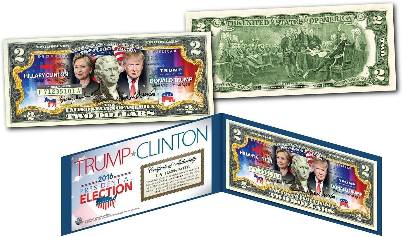 "2016 Election HILLARY CLINTON VS DONALD TRUMP /""DUAL/"" US Legal Tender $2 Bill"