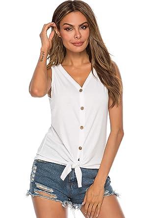 74bfe34ce Débardeur Femme Haut Femme T-Shirts Bouton à col en V Chemise sans Manche  Tops Tee-Shirt Tank Tops et Chemisiers