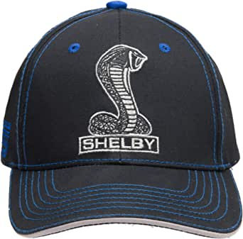 Shelby Cobra Snake Logo Hat - Baseball Cap | Black with Blue Stitching | 100% Cotton | Velcro Adjustable | One Size Fits All