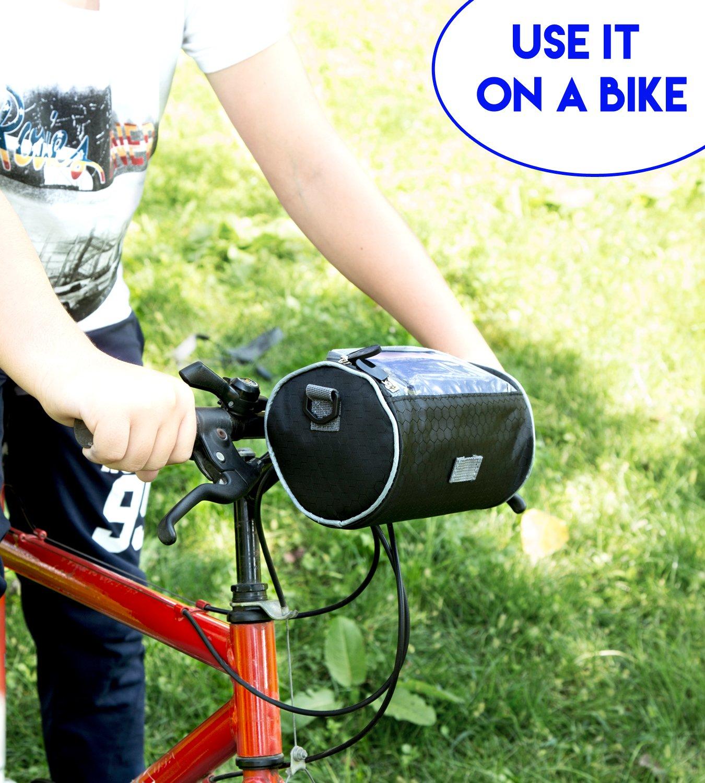 Boxiki travel Bicycle Handlebar Bag for Road Bikes, Mountain Bikes & Motorcycles. Bike Pannier Pouch w/Touchscreen Phone Holder. Waterproof Bike Frame Storage Bag Removable Shoulder Strap by Boxiki travel (Image #6)